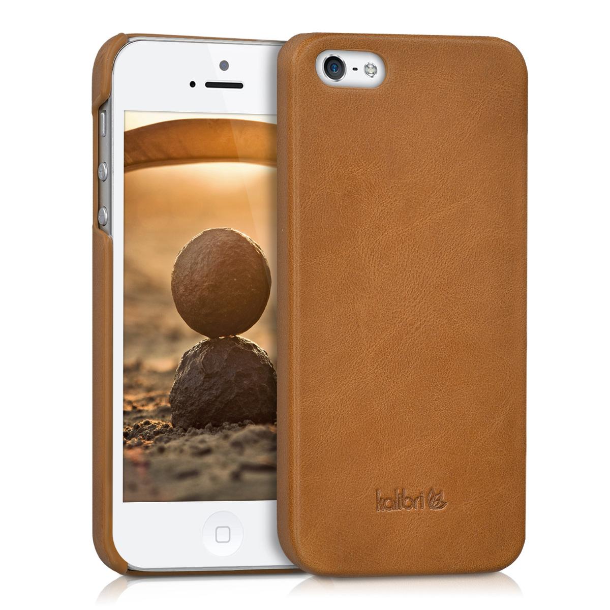 Kalibri Σκληρή Δερμάτινη Θήκη iPhone SE / 5S / 5 - Καφέ (38962.83)