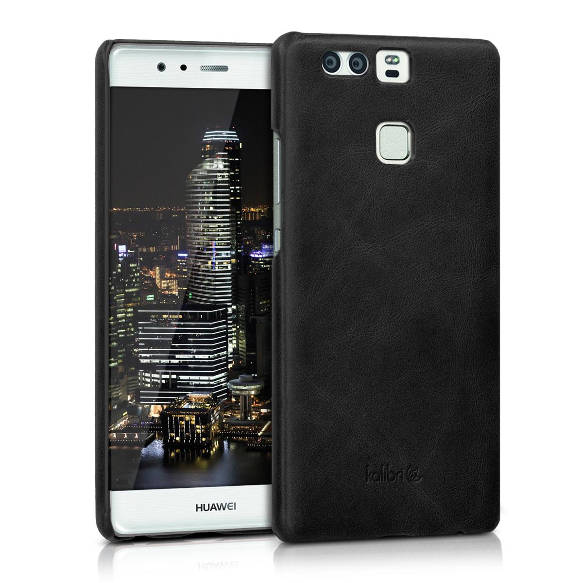 Kalibri Σκληρή Δερμάτινη Θήκη Huawei P9 - Black (38964.01)
