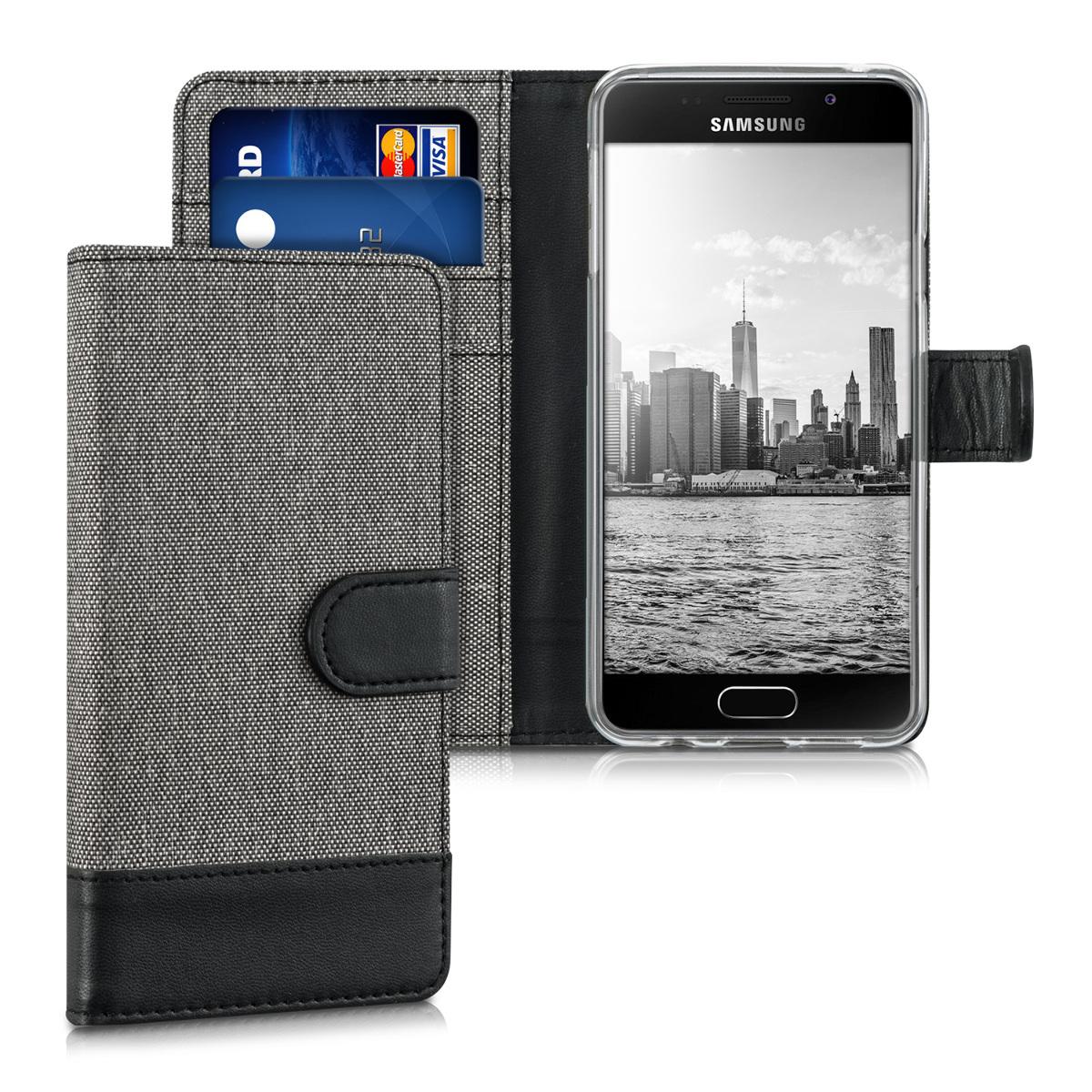 KW Θήκη - Πορτοφόλι Samsung Galaxy A3 (2016) - Συνθετικό Δέρμα - Grey / Black (39024.22)