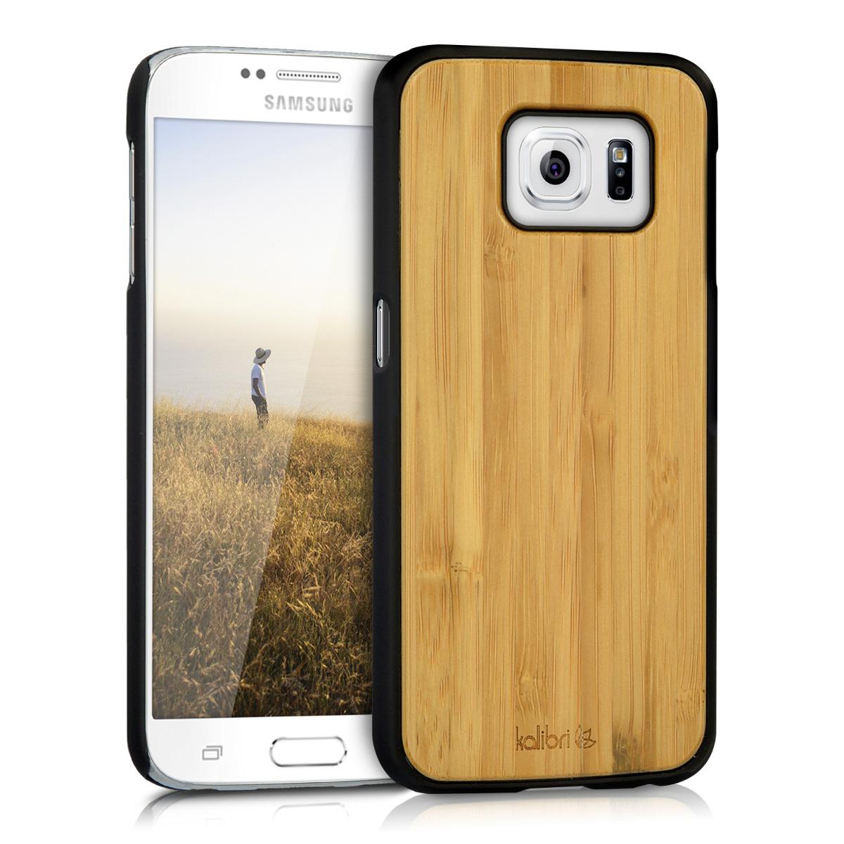 Kalibri Σκληρή Ξύλινη Θήκη Samsung Galaxy S6 / S6 Duos - Premium real wood -  light brown - (39055.11)