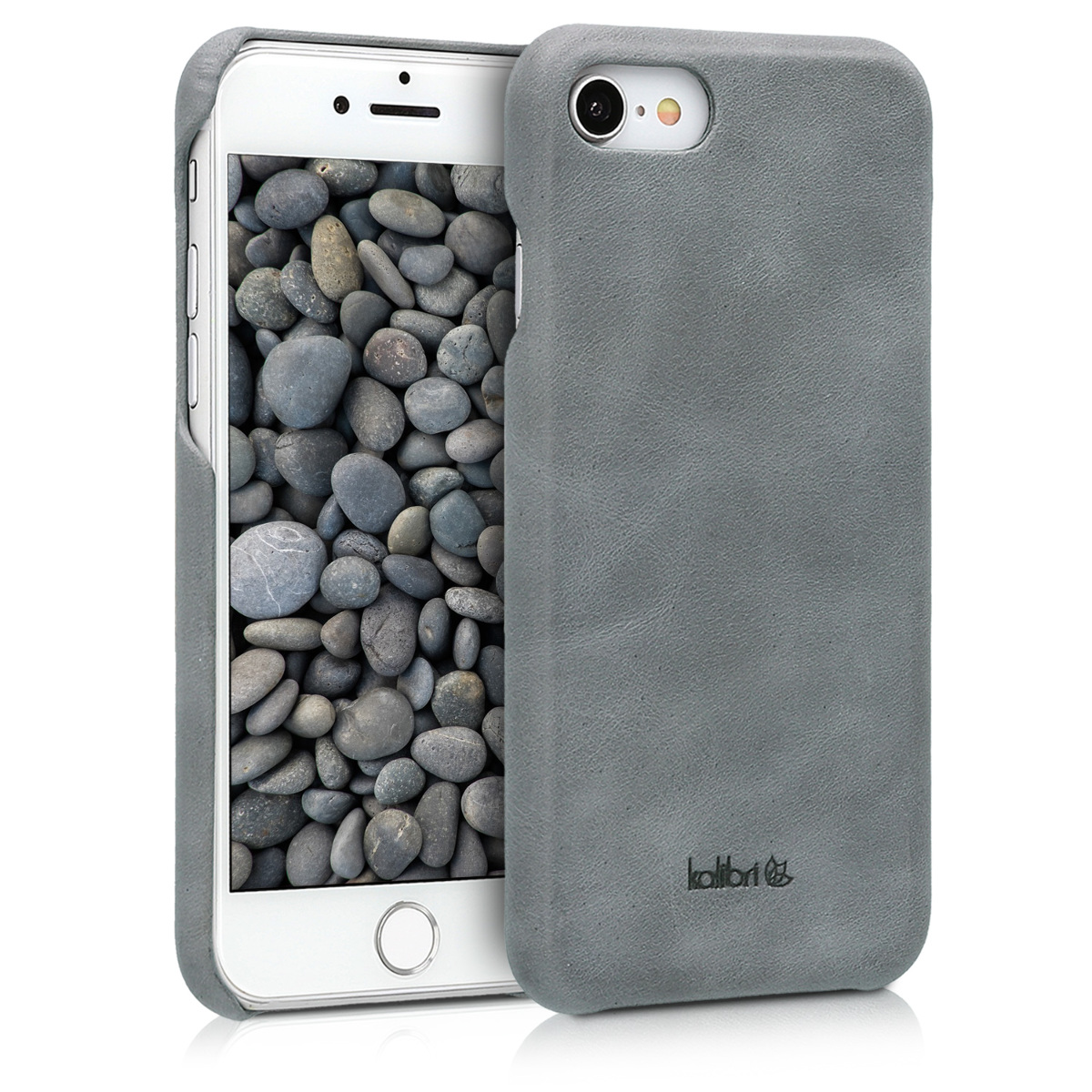 Kalibri Σκληρή Δερμάτινη Θήκη iPhone 7 / 8 - Dark Grey (39345.19)