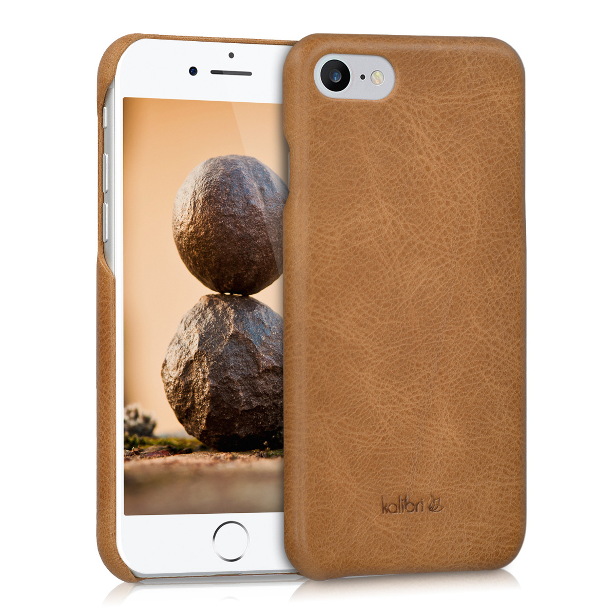 Kalibri Σκληρή Δερμάτινη Θήκη iPhone 7/8 - Cognac (39345.83)