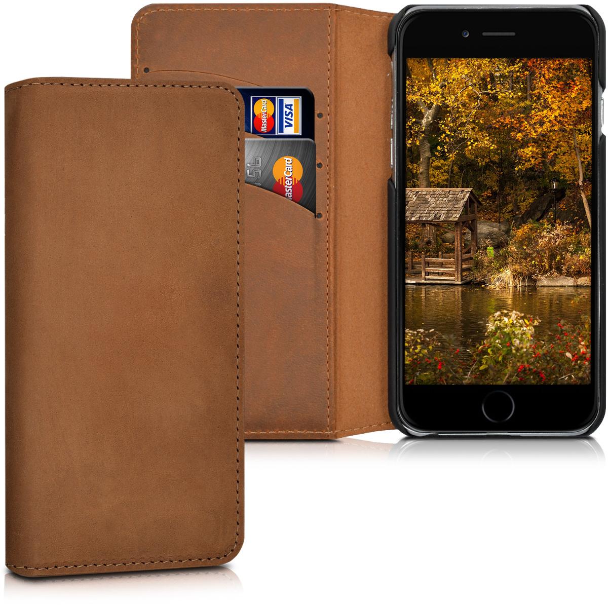 Kalibri Δερμάτινη Suede Θήκη - Πορτοφόλι Apple iPhone 6 / 6S - Cognac (39399.83)
