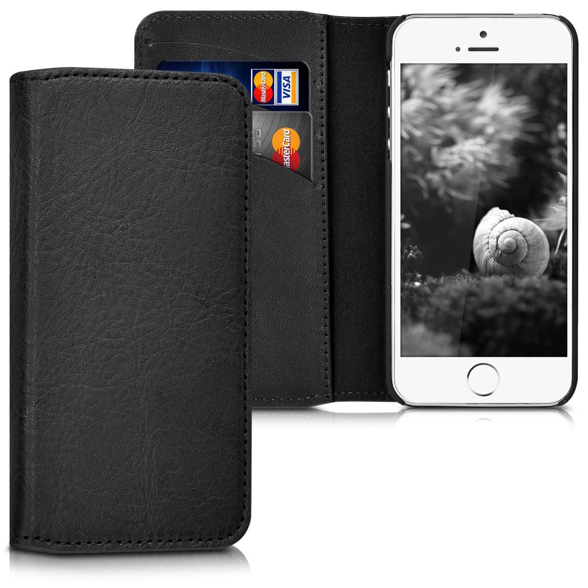 Kalibri Δερμάτινη Suede Θήκη - Πορτοφόλι Apple iPhone SE / 5 / 5S - Black (39400.01)