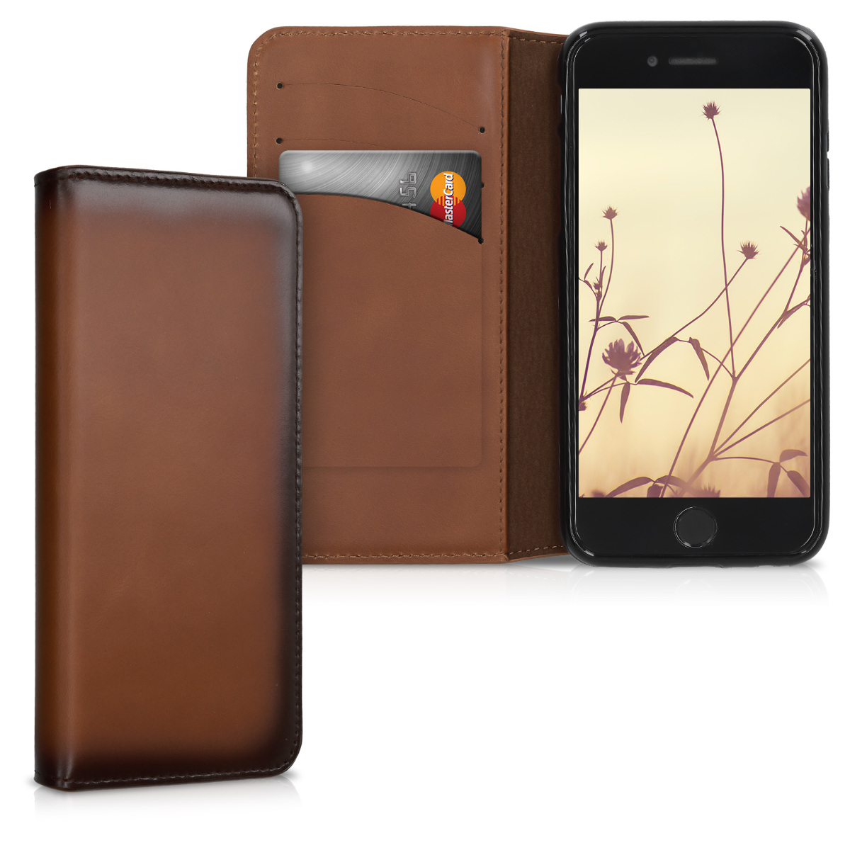 Kalibri Δερμάτινη Θήκη - Πορτοφόλι iPhone 7 / 8 - Vintage Brown (39401.133)