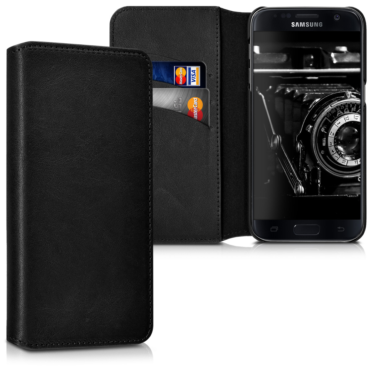 kalibri Case for Samsung Galaxy S7 - Genuine Leather Protective Cover with Card Slots, Stand Feature - Black