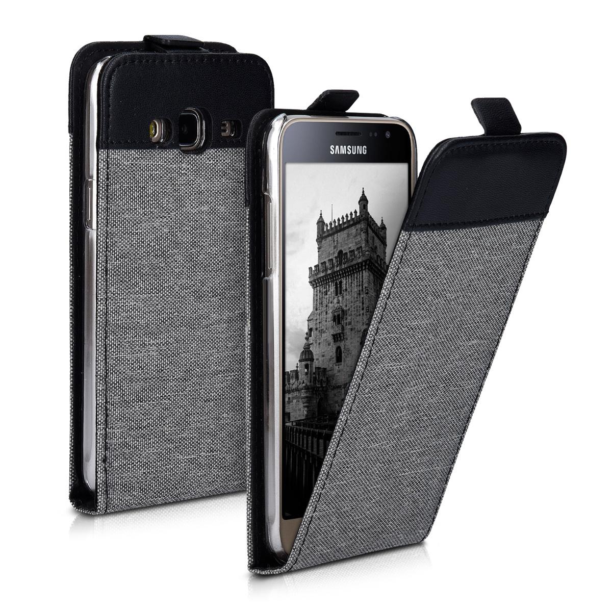 KW Flip Θήκη Samsung Galaxy J3 (2016) DUOS - Grey / Black (39424.22)