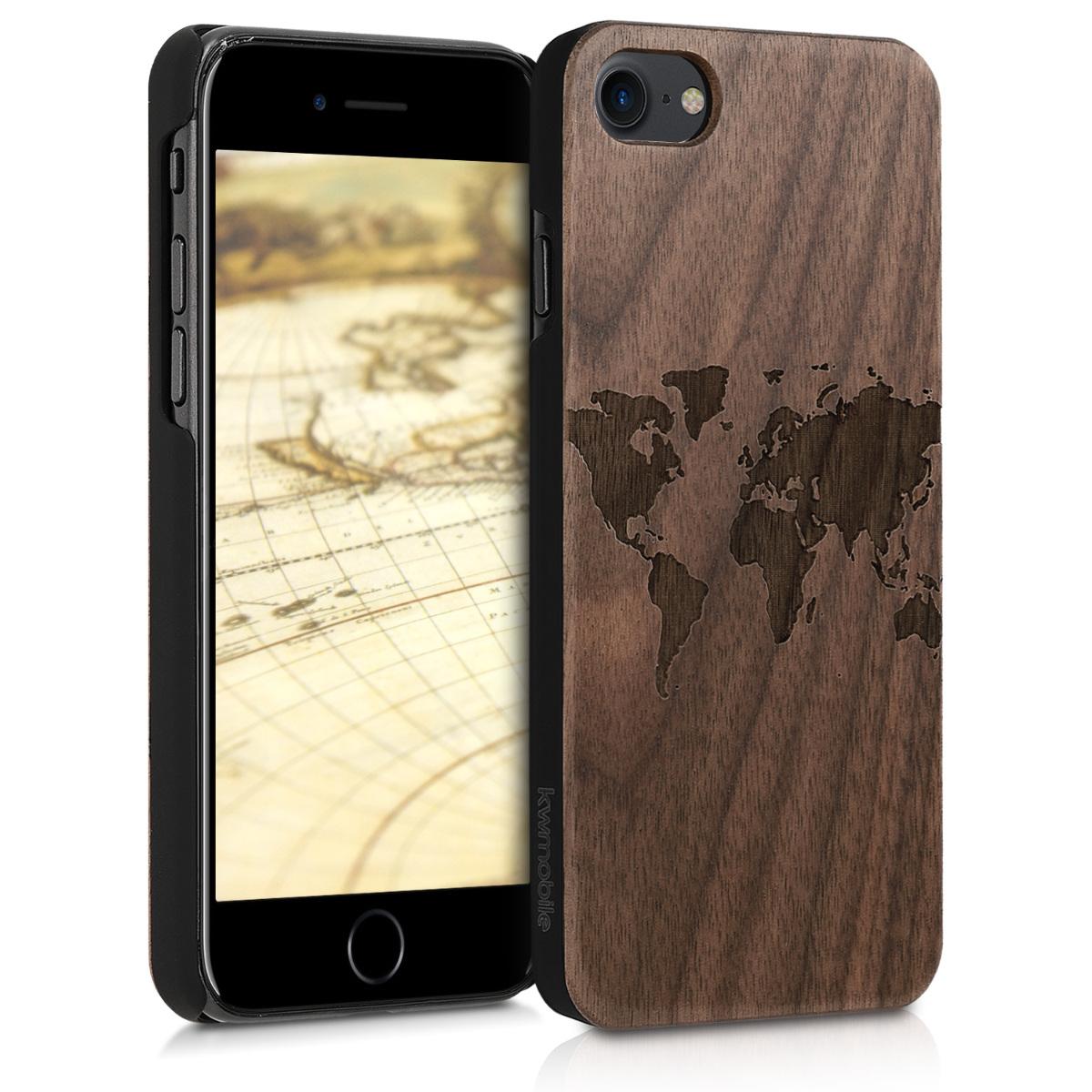 KW Ξύλινη Θήκη iPhone 7 / 8 - Καφέ/ χάρτης (39462.11)