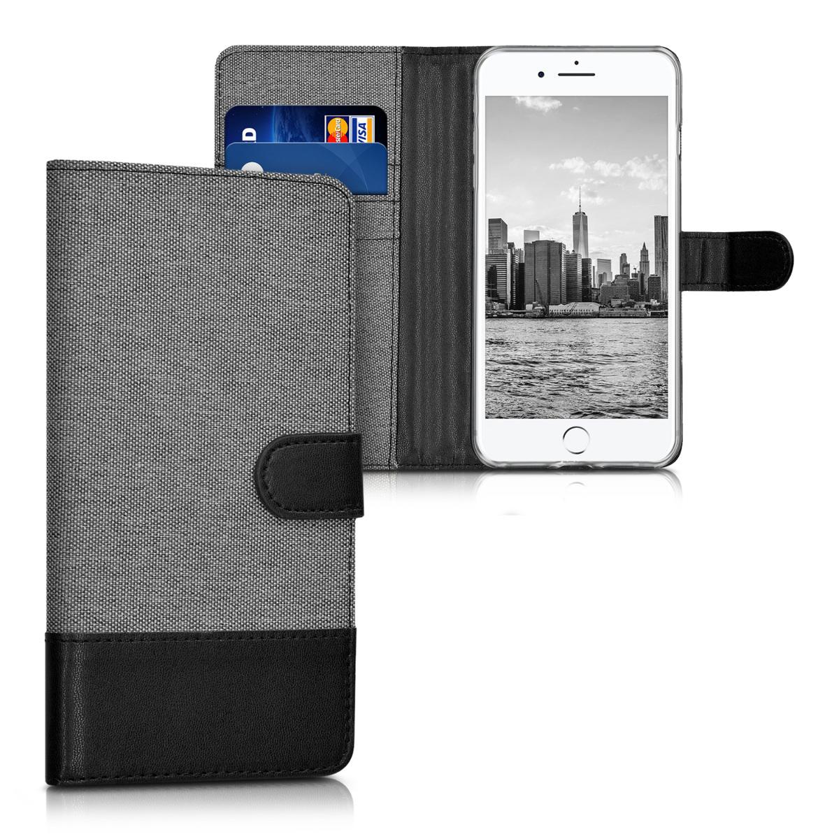 KW Θήκη Πορτοφόλι iPhone 7 Plus / 8 Plus - Grey / Black Canvas (39496.22)