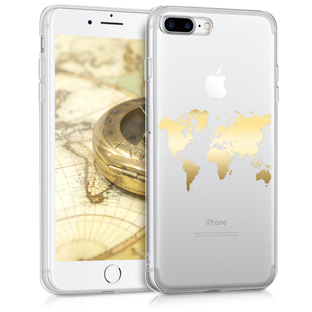 KW Θήκη Σιλικόνης iPhone 8 Plus / 7 Plus - Gold Map / Transparent (39500.04)