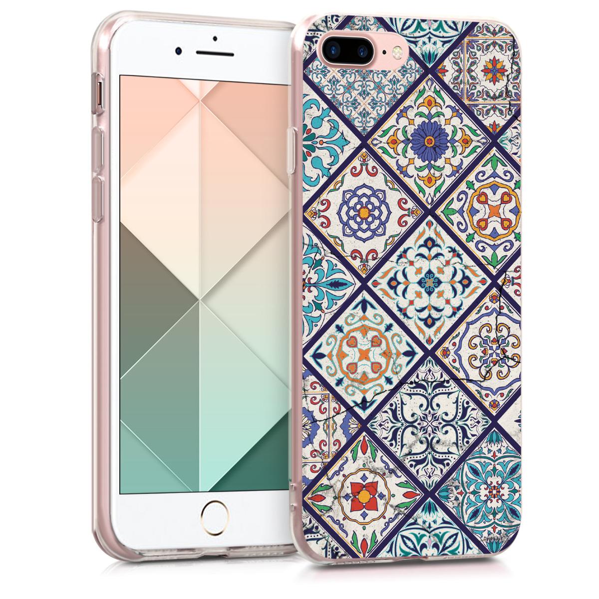 KW Θήκη Σιλικόνης Apple iPhone 7 Plus / 8 Plus - Blue / Orange / White (39500.27)