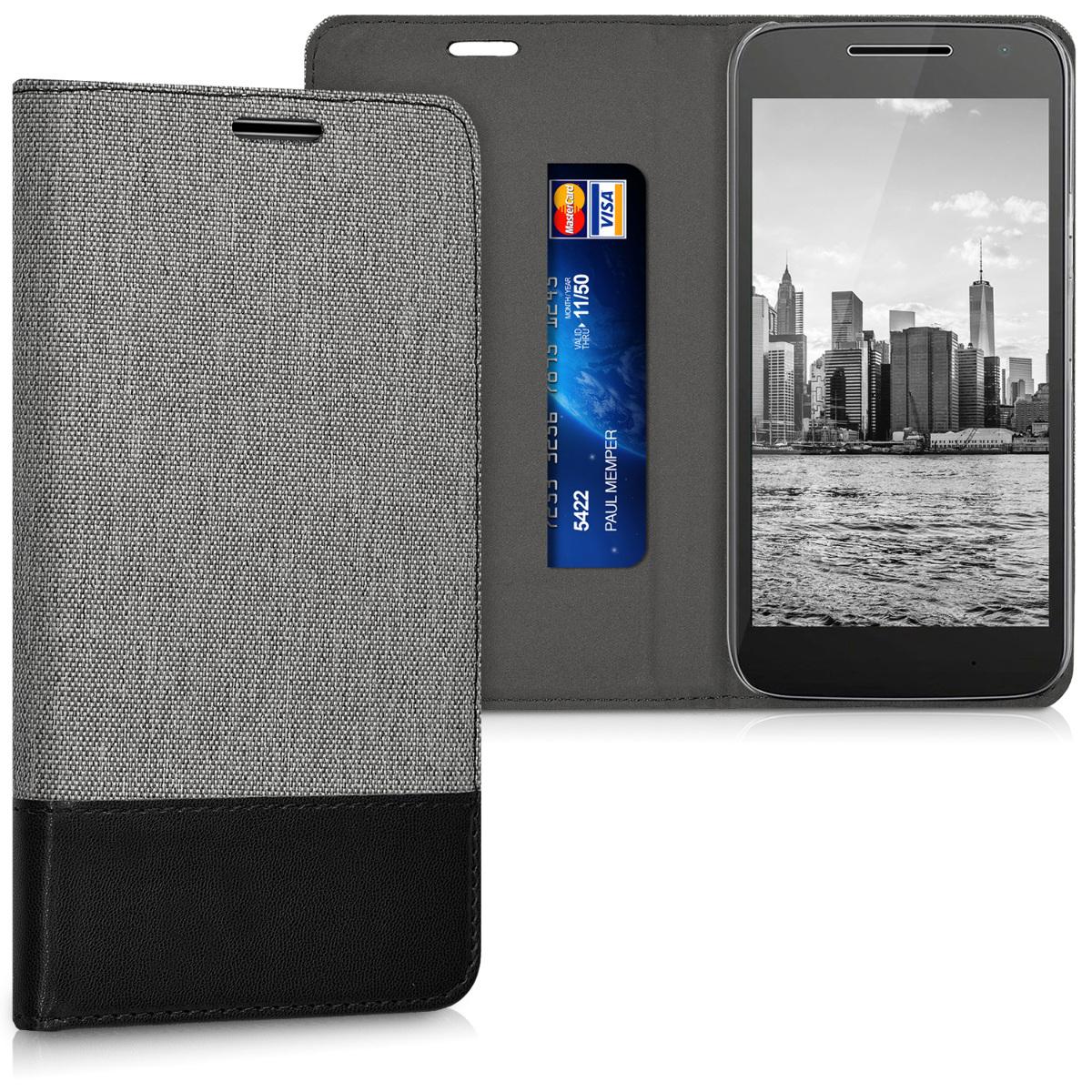 KW Θήκη Πορτοφόλι Motorola Moto G4 Play - Συνθετικό δέρμα - Grey / Black (39522.22)