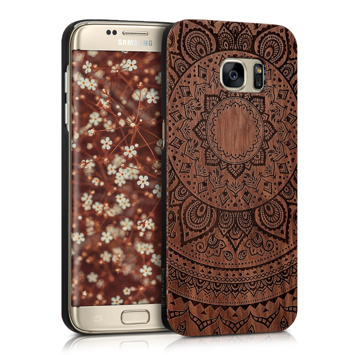KW Σκληρή Ξύλινη Θήκη Samsung Galaxy S7 Edge - Brown - Mandala (39560.01)