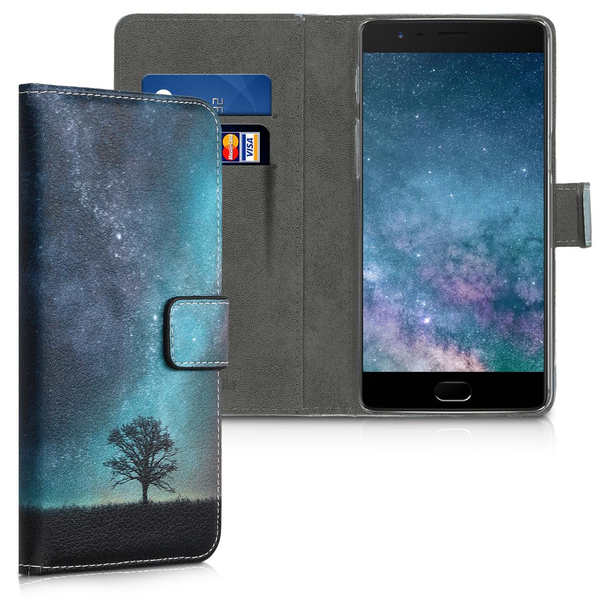 KW Θήκη - Πορτοφόλι OnePlus 3 / 3T - Blue / Grey / Black Canvas (39742.04)