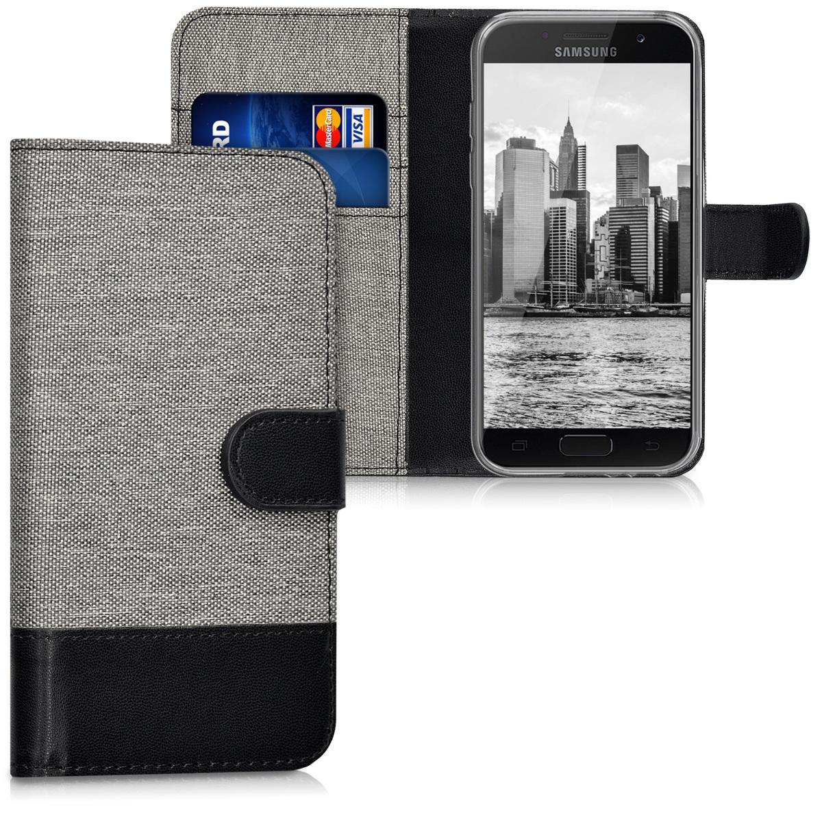 KW Θήκη Πορτοφόλι Samsung Galaxy A3 (2017) - Grey / Black (40693.22)