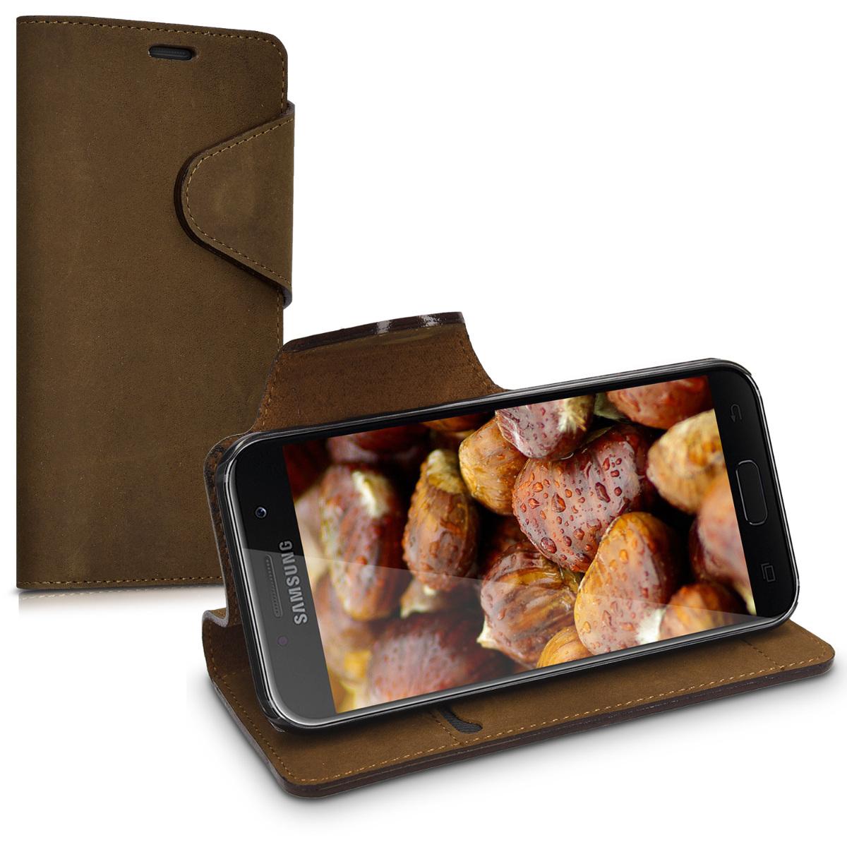 Kalibri Δερμάτινη Suede Θήκη - Πορτοφόλι  Samsung Galaxy A3 (2017) - Brown (40767.05)