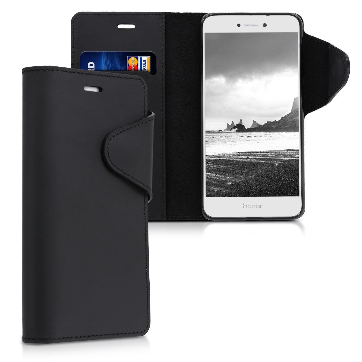 Kalibri Δερμάτινη Suede Θήκη - Πορτοφόλι Huawei P8 / P9 Lite 2017- Μαύρο (40892.01)
