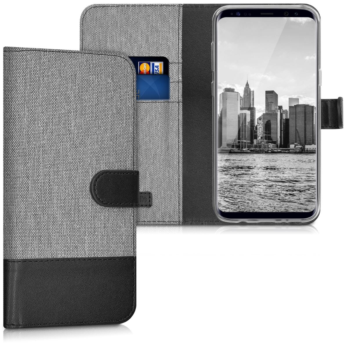 KW Θήκη - Πορτοφόλι Samsung Galaxy S8 Plus - Συνθετικό Δέρμα - Grey / Black (40999.22)