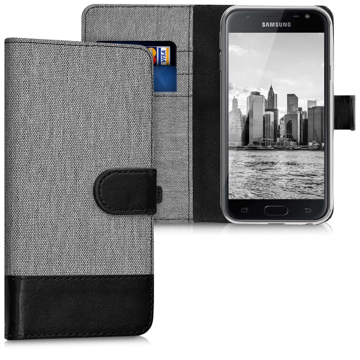 KW Θήκη - Πορτοφόλι Samsung Galaxy J3 (2017) DUOS - Συνθετικό Δέρμα - Grey / Black (41030.22)