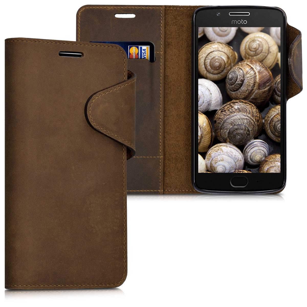 Kalibri Δερμάτινη Suede Θήκη - Πορτοφόλι Motorola Moto G5 - Καφέ(41078.05)