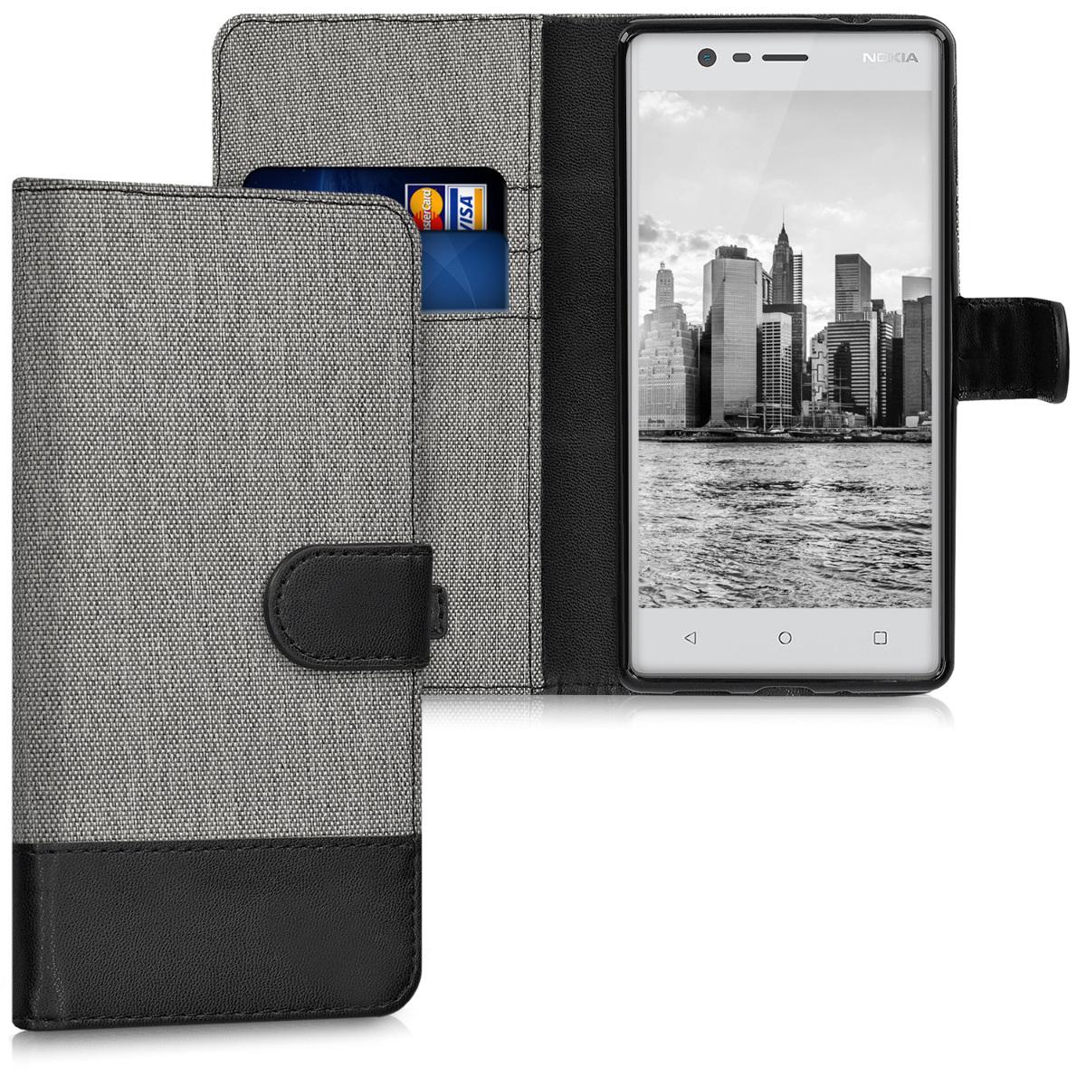 KW Θήκη Πορτοφόλι Nokia 3 - Συνθετικό δέρμα - Grey / Black (41108.01)