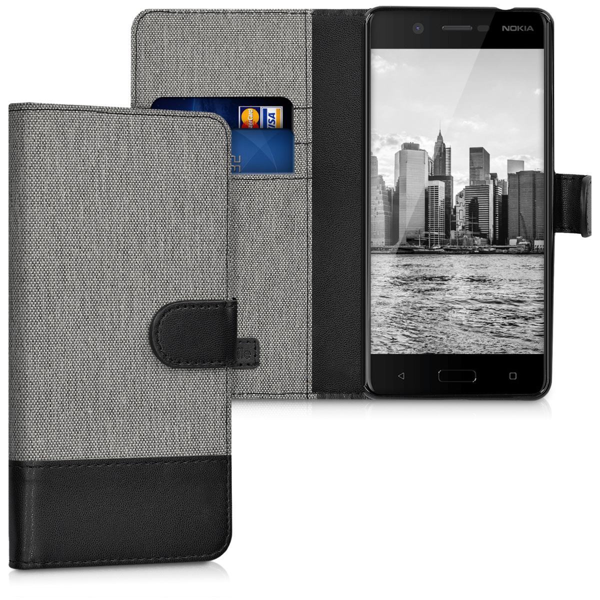 KW Θήκη Πορτοφόλι Nokia 5 - Grey / Black (41113.01)