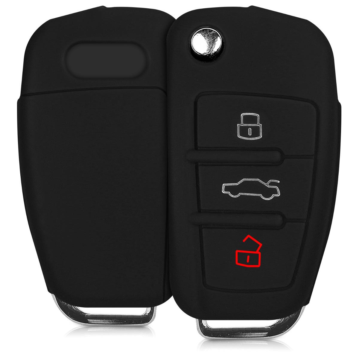 KW Θήκη κλειδιού - Audi - Σιλικόνη-  3 κουμπιά - Black (41115.01)