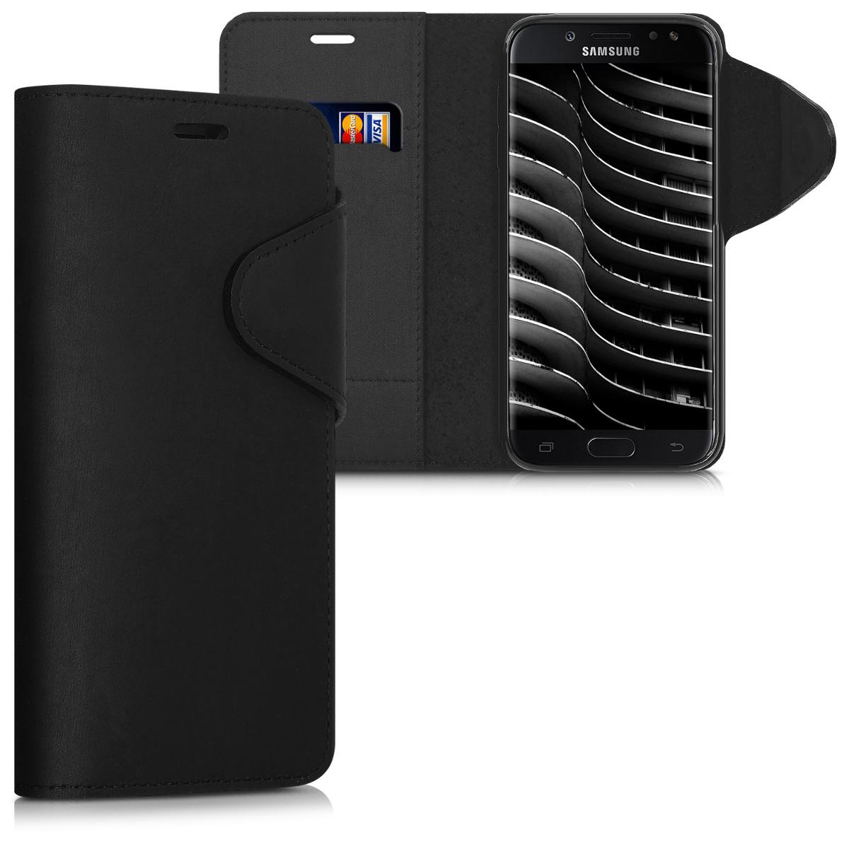 Kalibri Δερμάτινη Suede Θήκη - Πορτοφόλι Samsung Galaxy J5 (2017) DUOS - Black (41146.01)
