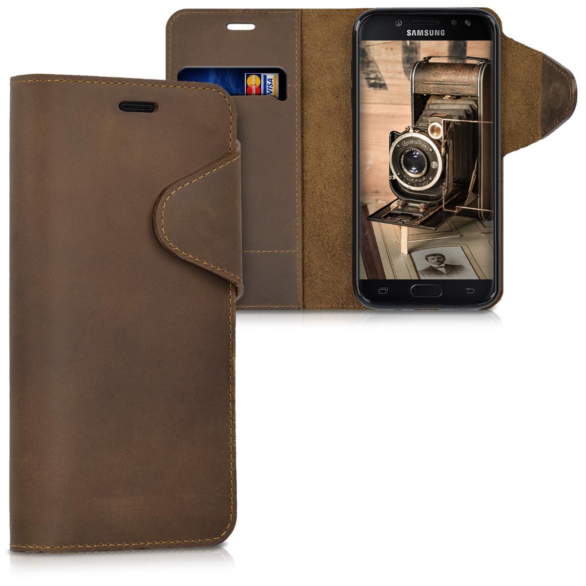 Kalibri Δερμάτινη Suede Θήκη - Πορτοφόλι Samsung Galaxy J5 (2017) DUOS - Brown (41146.05)