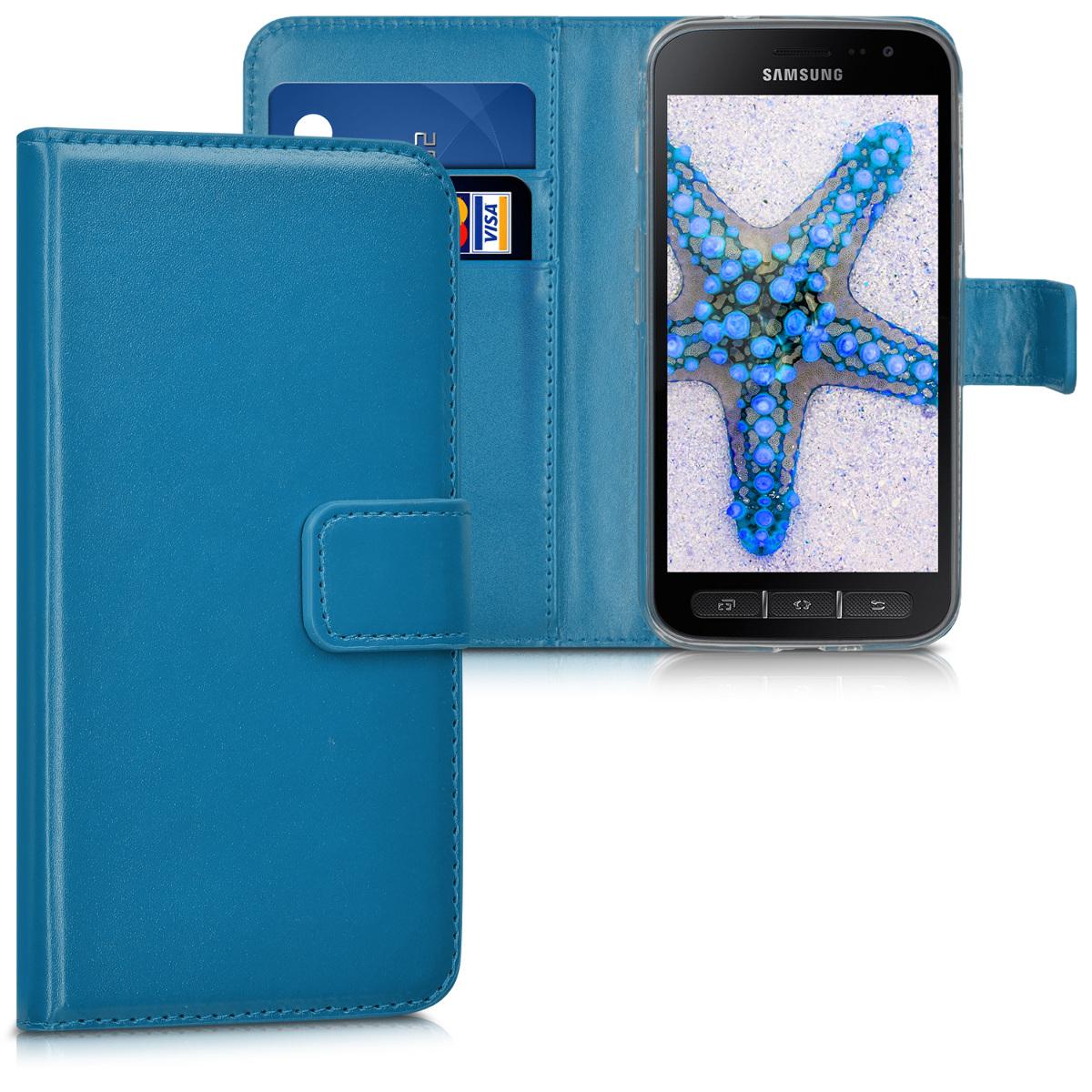 KW Θήκη - Πορτοφόλι Samsung Galaxy Xcover 4 - Συνθετικό δέρμα - Blue (41169.17)