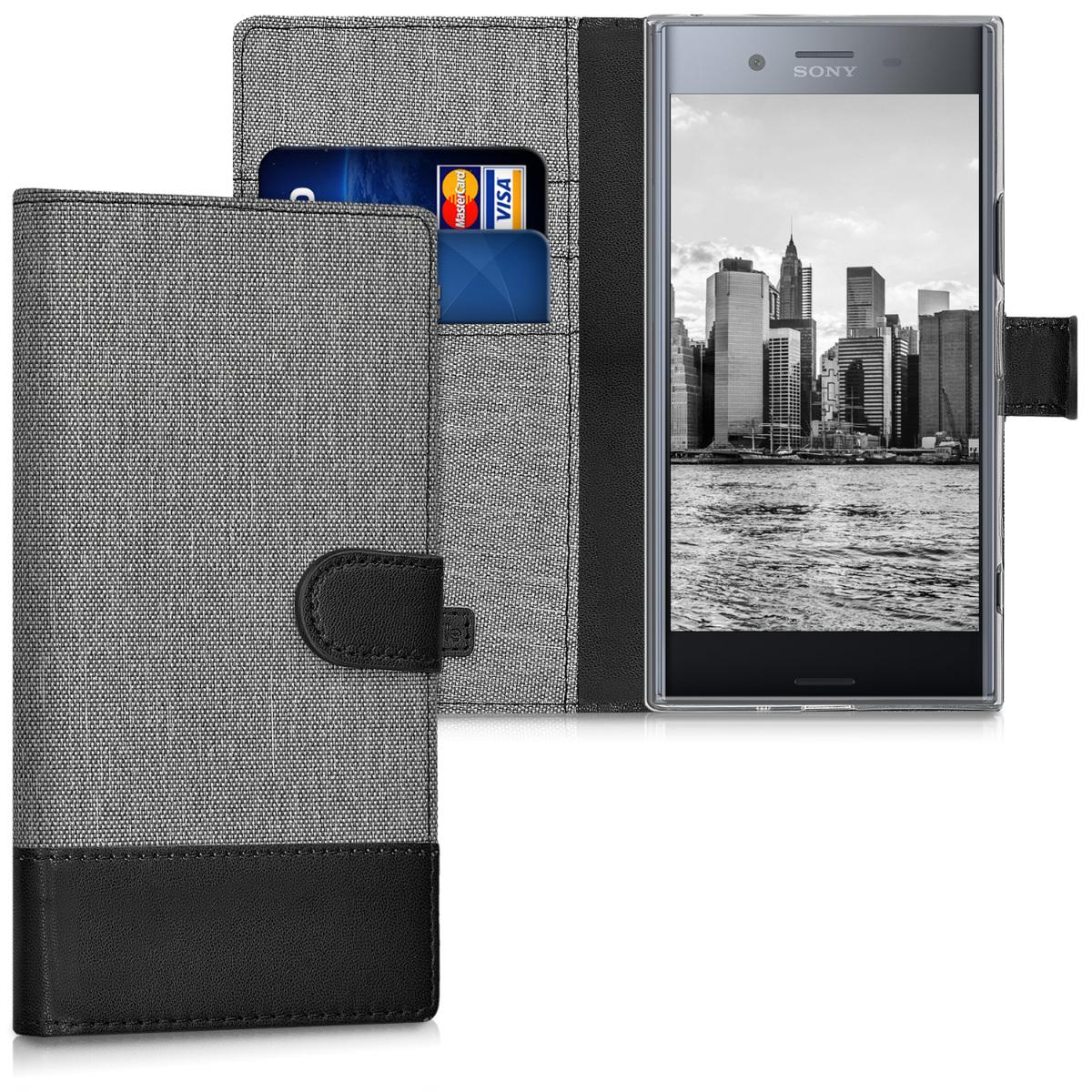 KW Θήκη Πορτοφόλι Sony Xperia XZ Premium - Συνθετικό δέρμα - Grey / Black (41200.01)