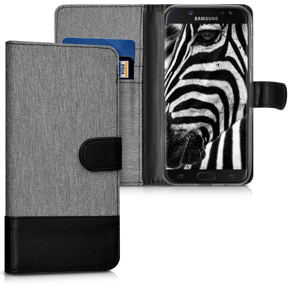 KW Θήκη - Πορτοφόλι Samsung Galaxy J7 (2017) DUOS - Συνθετικό Δέρμα - Grey / Black (41234.01)