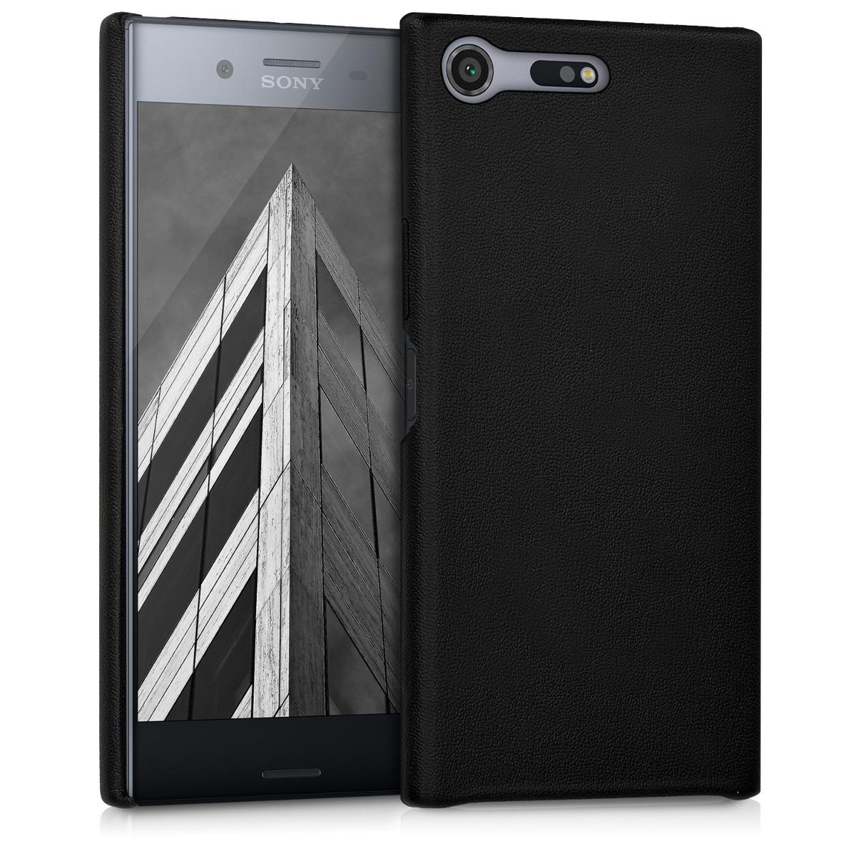 KW Σκληρή Θήκη Καουτσούκ PU Leather Sony Xperia XZ Premium  - Black (41329.01)