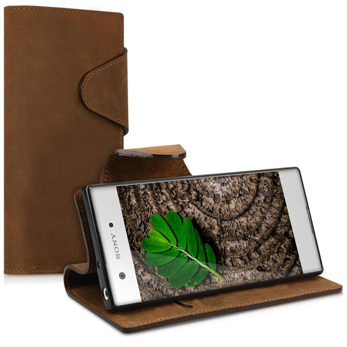 Kalibri Δερμάτινη Suede Θήκη - Πορτοφόλι Sony Xperia XA1 - Brown (41347.05)