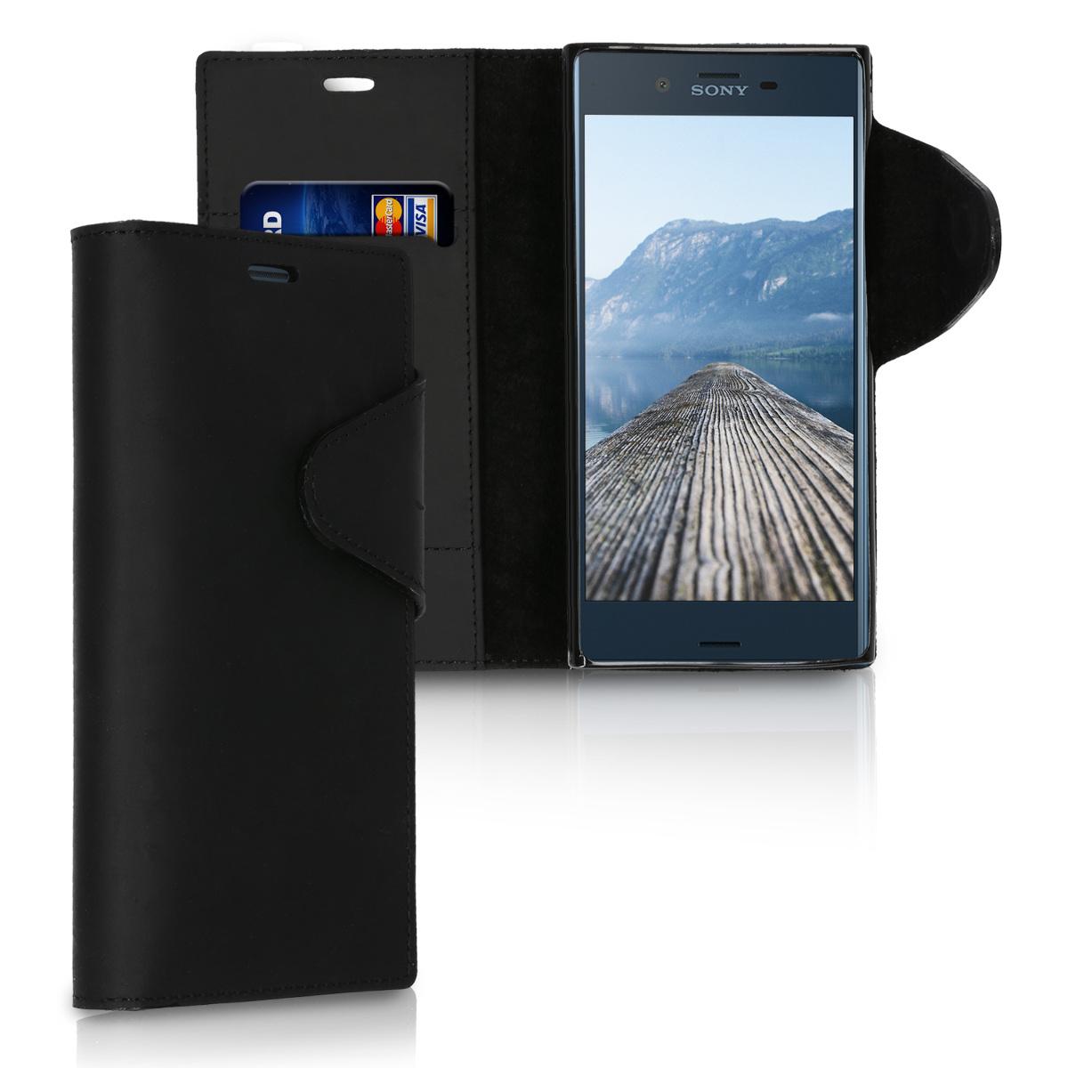 Kalibri Δερμάτινη Suede Θήκη - Πορτοφόλι Sony Xperia XZ / XZs - Black (41353.01)