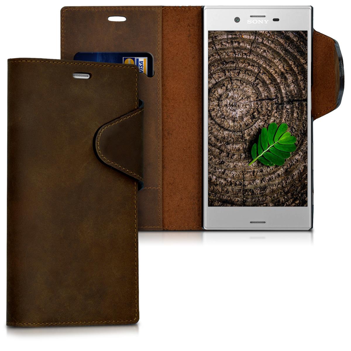 Kalibri Δερμάτινη Suede Θήκη - Πορτοφόλι Sony Xperia XZ / XZs - Καφέ (41353.05)