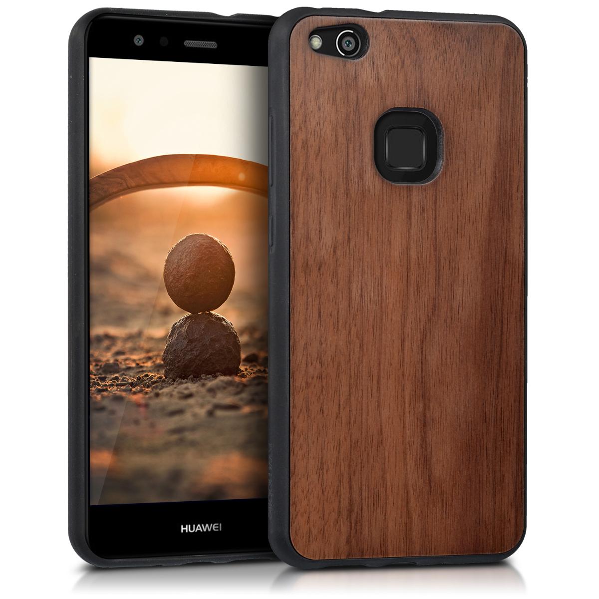 KW Σκληρή Ξύλινη Θήκη Huawei P10 Lite - Dark Brown - (41376.18)