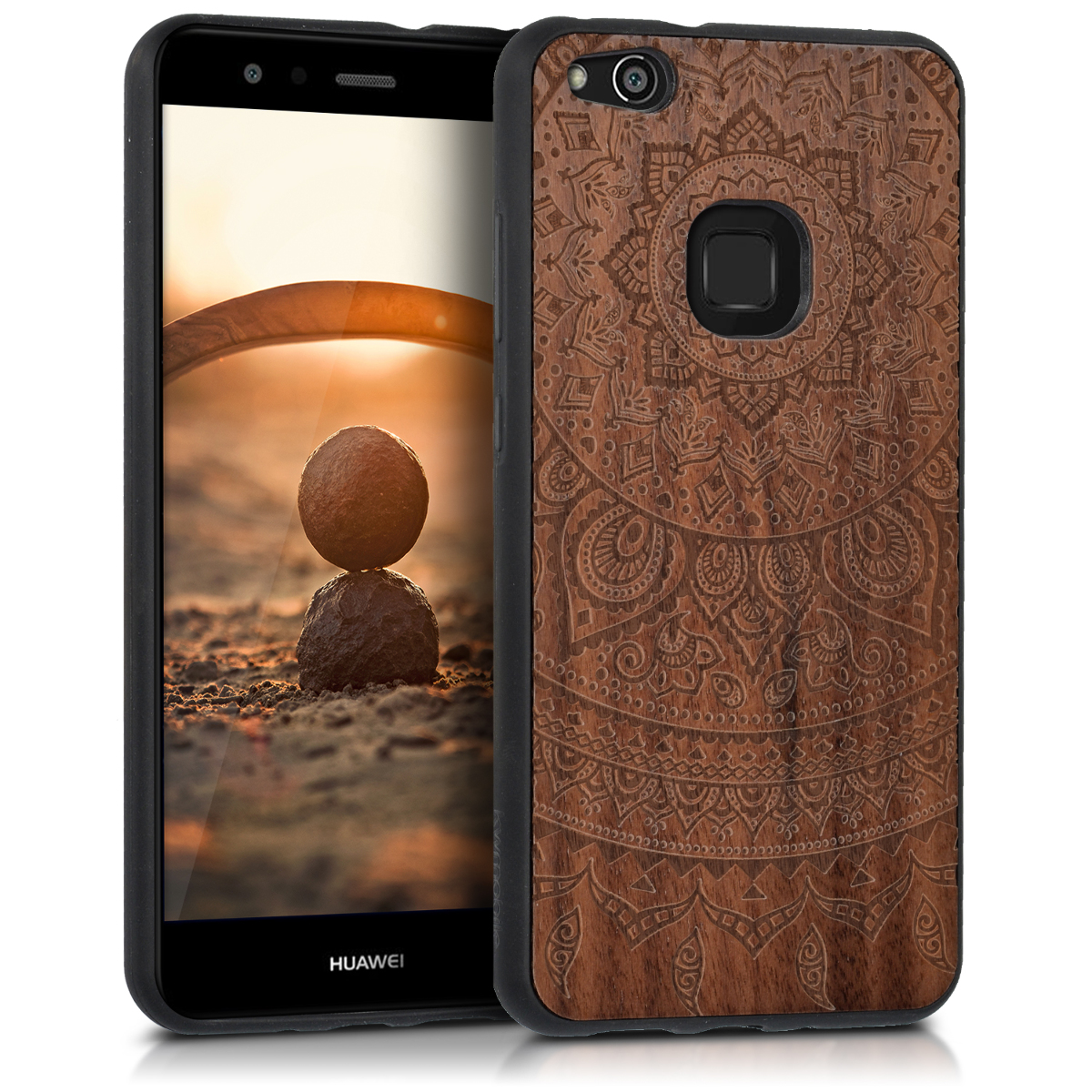 KW Ξύλινη Θήκη Huawei P10 Lite - Indian Sun - Dark Brown (41377.01)
