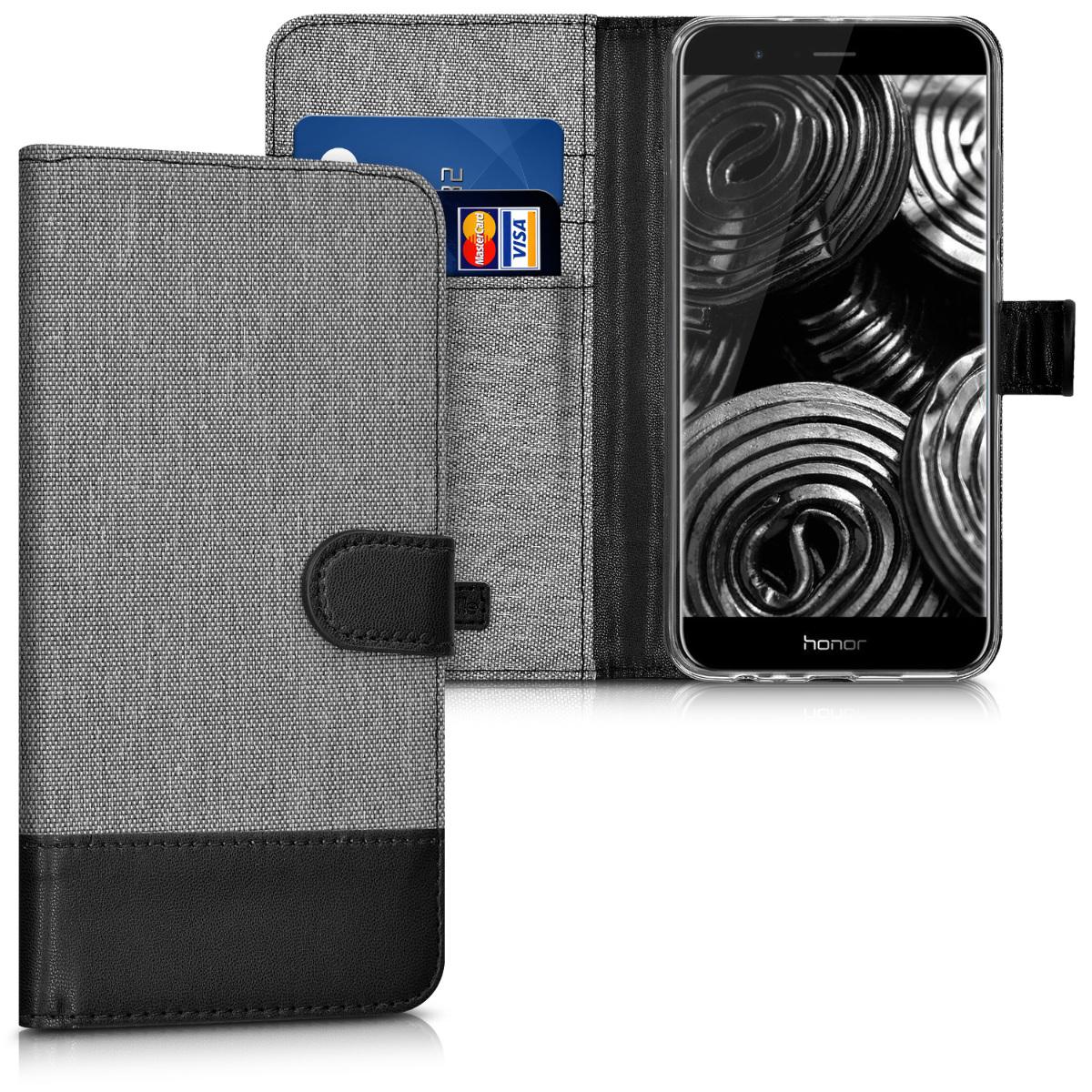 KW Θήκη Πορτοφόλι Huawei Honor 8 Pro - Συνθετικό δέρμα - Grey / Black (41414.01)