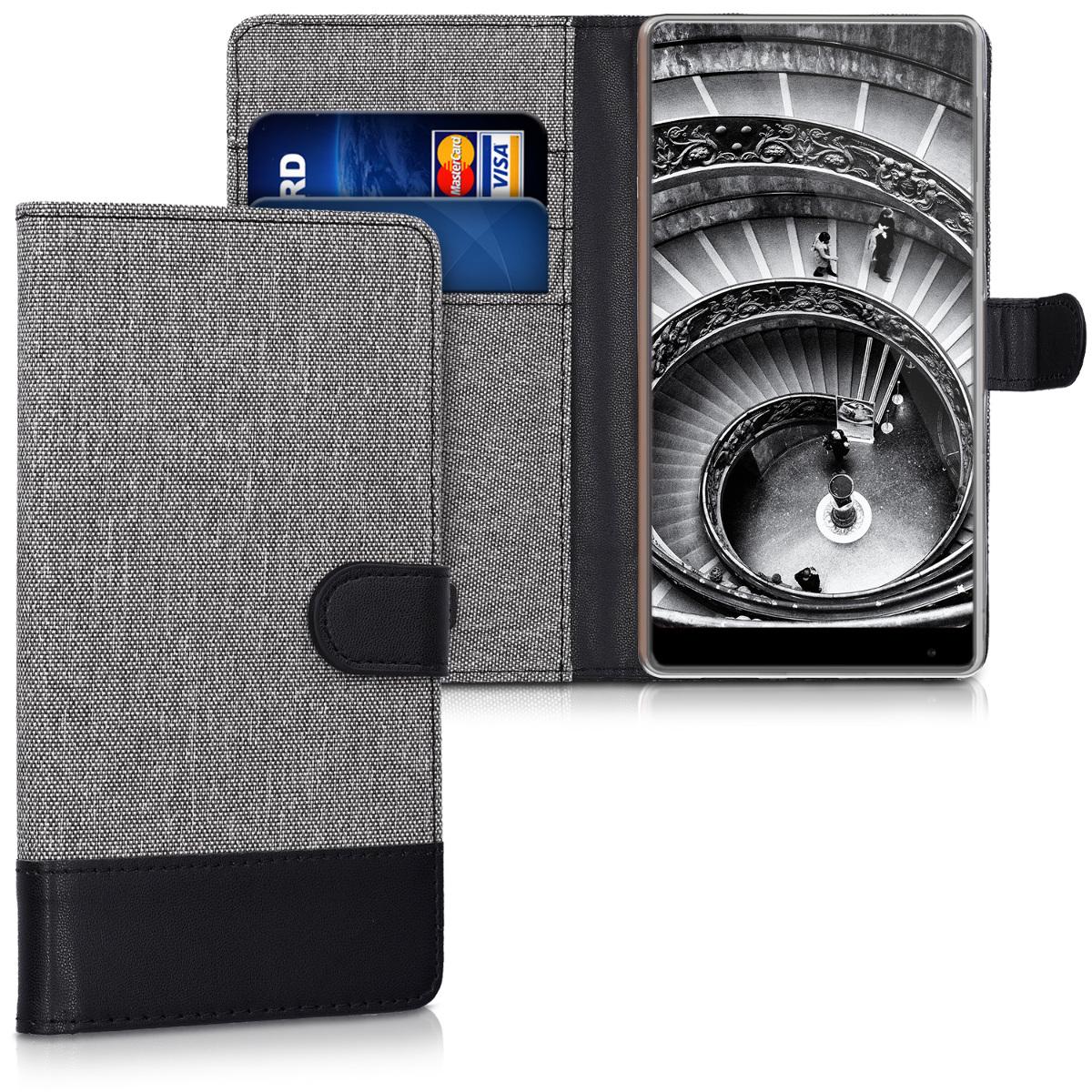 KW Θήκη Πορτοφόλι Xiaomi Mi Mix - Συνθετικό δέρμα - Grey / Black (41523.22)
