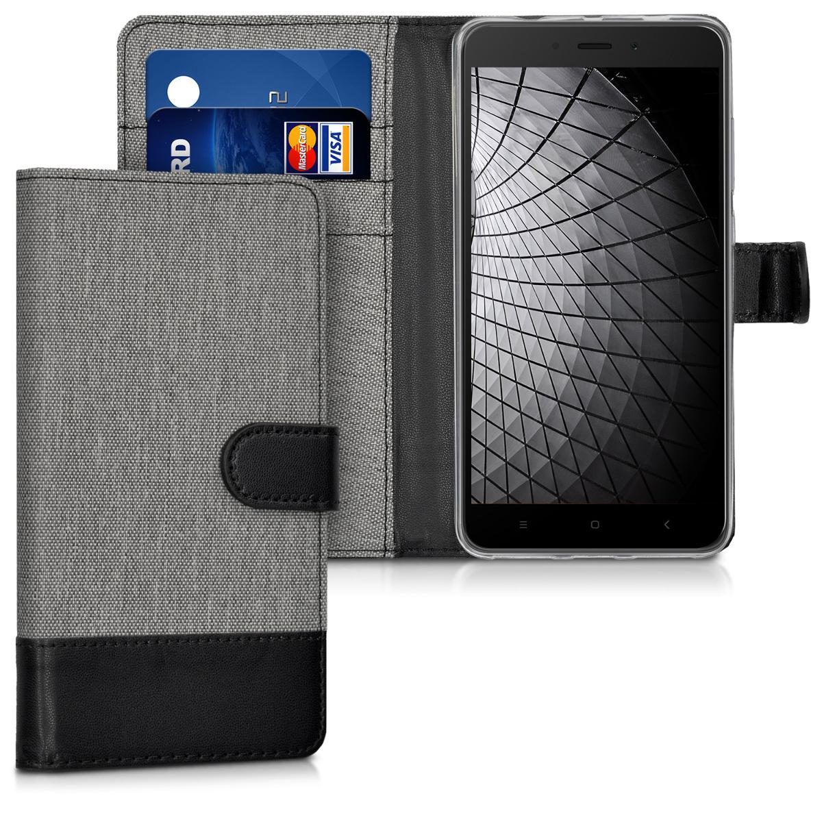 KW Θήκη Πορτοφόλι Xiaomi Redmi Note 4 / Note 4X  - Grey / Black (41544.22)