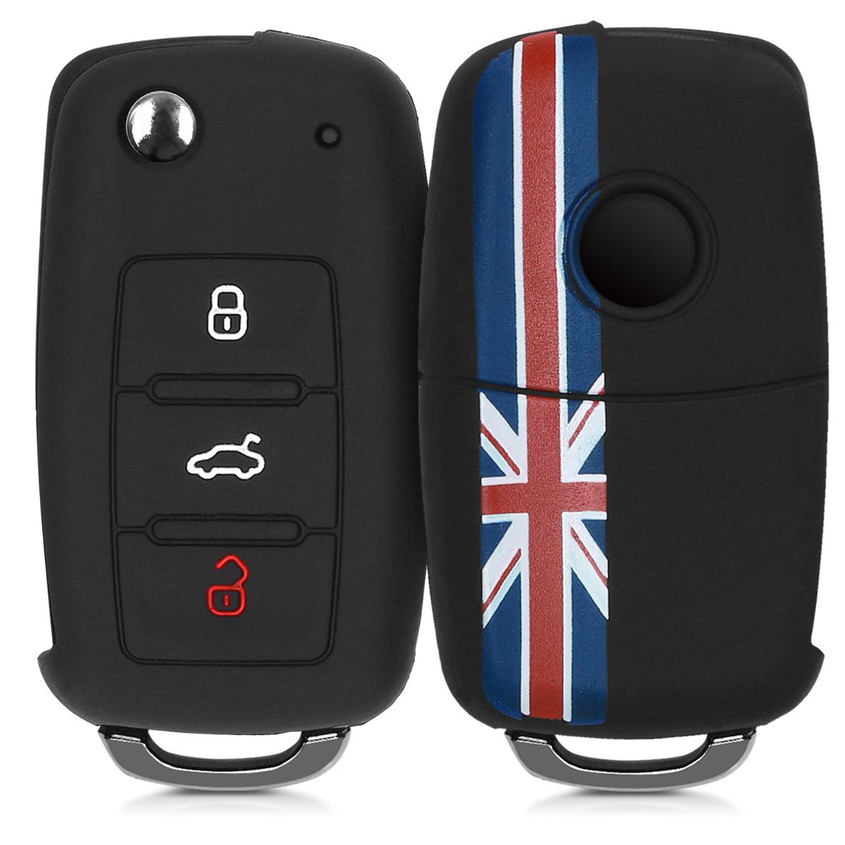 KW Θήκη Κλειδιού VW Skoda Seat - Σιλικόνη - 3 Κουμπιά - Red / Blue / Black (41729.57)