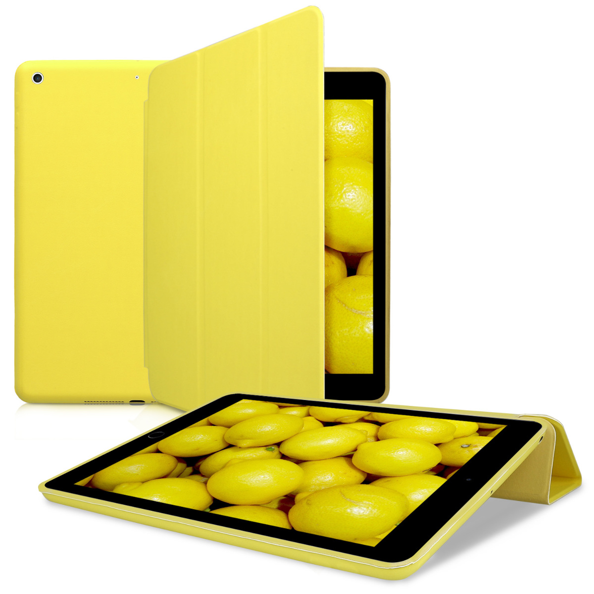 KW Θήκη Apple iPad 9.7 2017 / 2018 - PU Leather Smart Cover Protective Tablet Case with Stand - Yellow (41778.06)