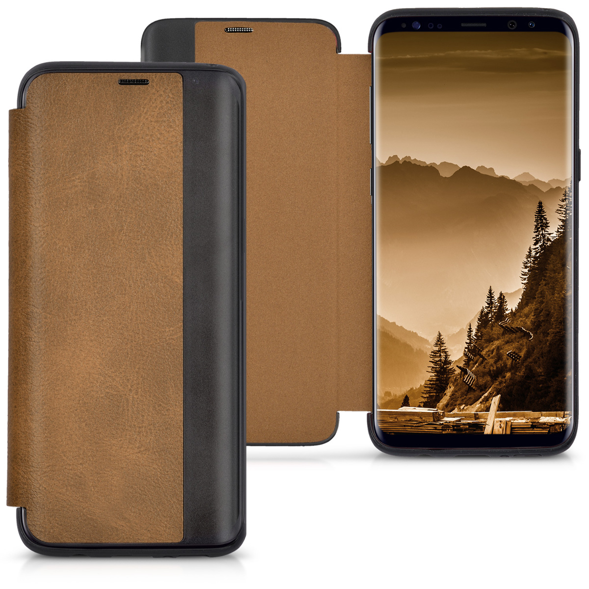 KW Θήκη - Flip Samsung Galaxy S8 - Brown / Black (41782.05)