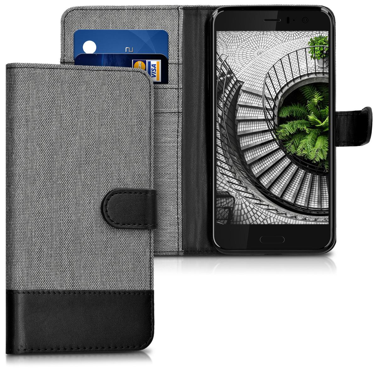 KW Θήκη - Πορτοφόλι HTC U11 - Συνθετικό Δέρμα - Grey / Black (41797.22)
