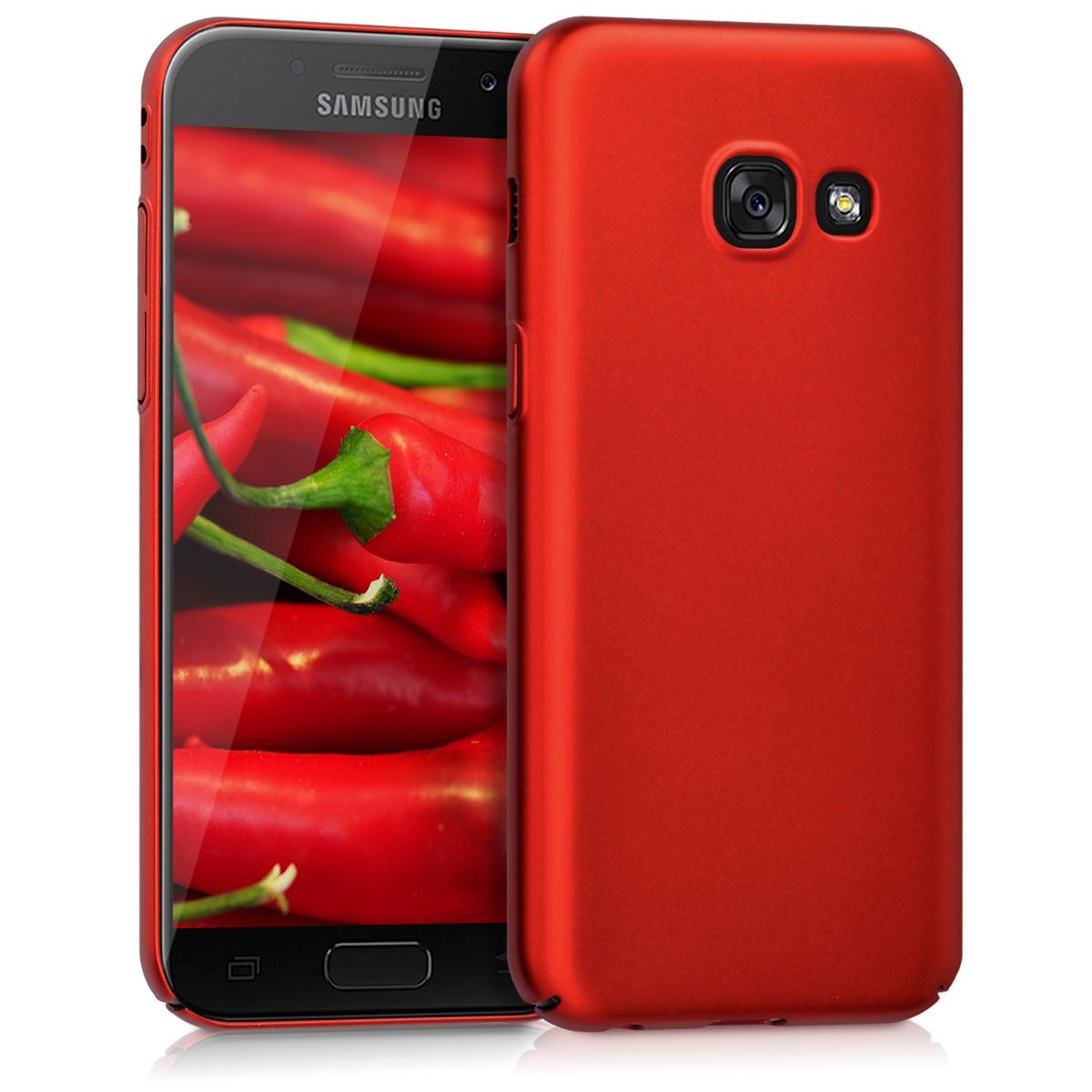 KW Slim Anti-Slip Cover - Σκληρή Θήκη Καουτσούκ Samsung Galaxy A3 (2017) - Κόκκινο μεταλλικό (41802.36)