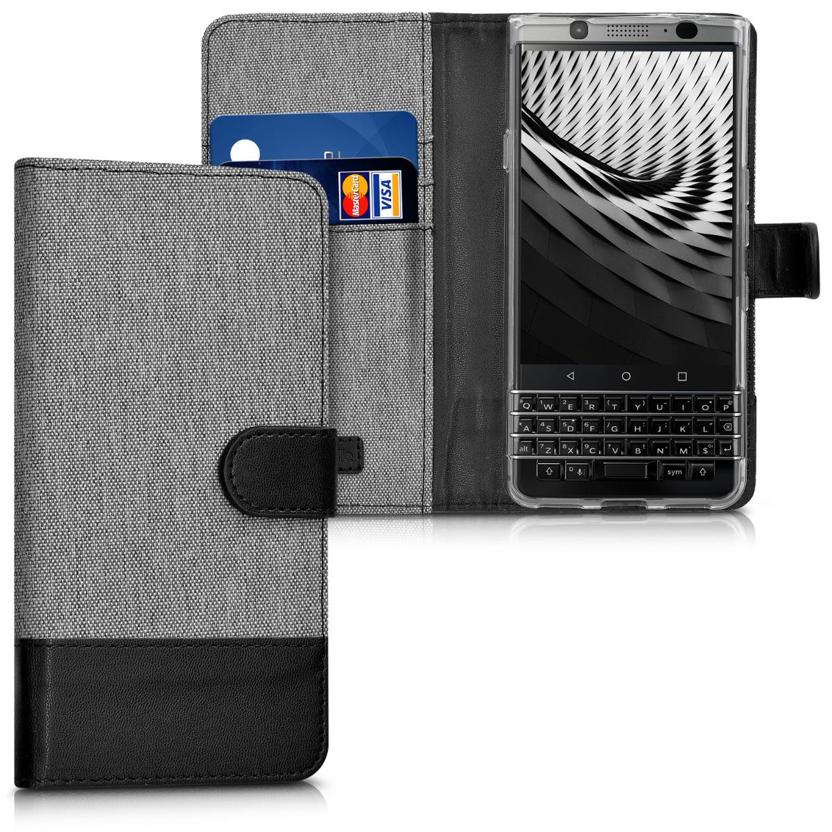 KW Θήκη Πορτοφόλι Blackberry KEYone (Key1) - Συνθετικό δέρμα - Grey / Black (41862.22)