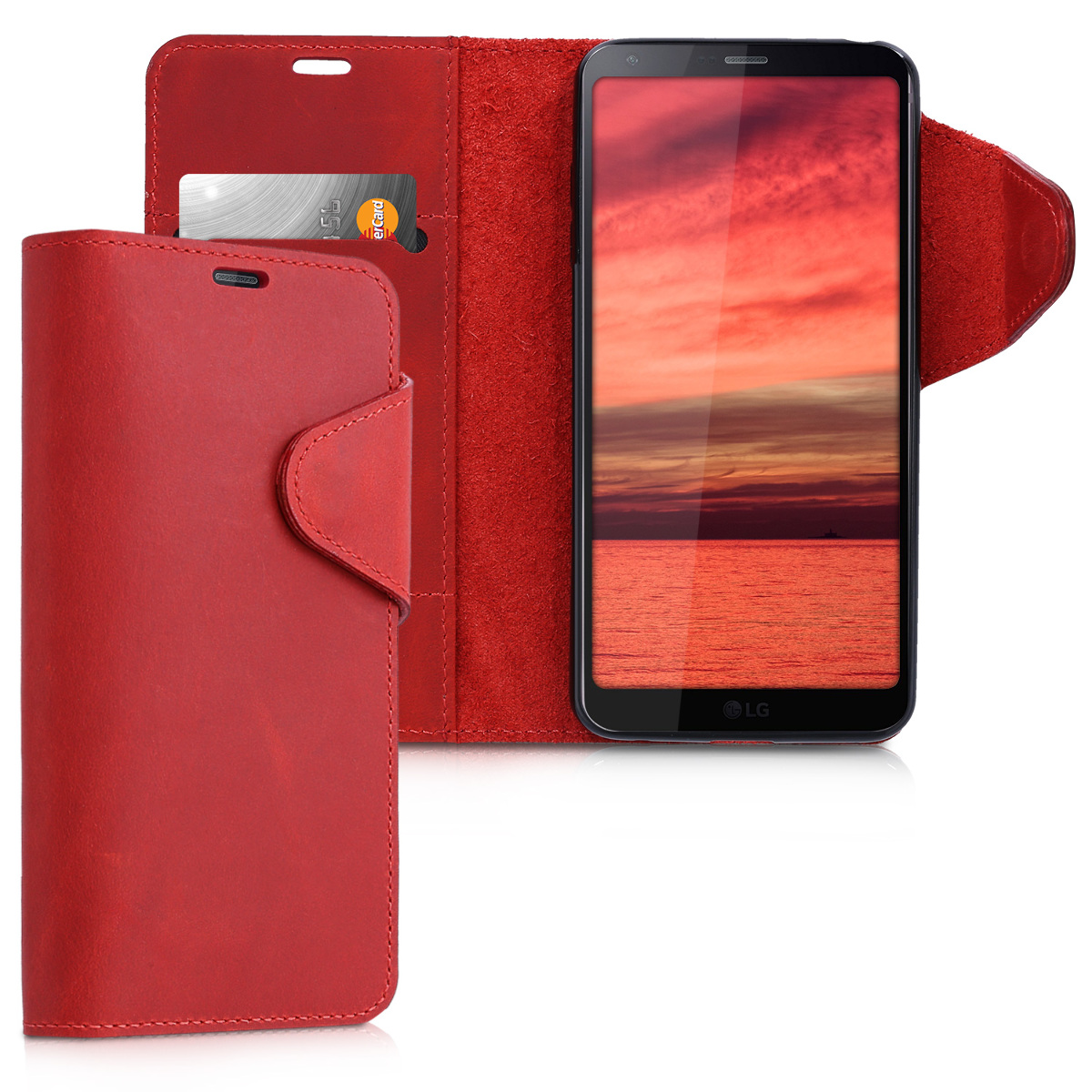 Kalibri Δερμάτινη Suede Θήκη - Πορτοφόλι LG G6 - Dark Red (41901.20)