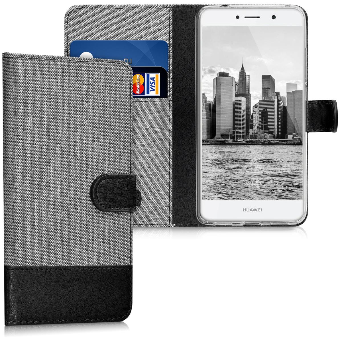 KW Θήκη Πορτοφόλι Huawei Y7 / Y7 Prime (2017) - Συνθετικό δέρμα - Grey / Black (41961.01)