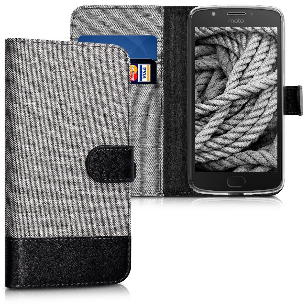 KW Θήκη Πορτοφόλι Motorola Moto E4 - Συνθετικό δέρμα - Grey / Black (42125.01)